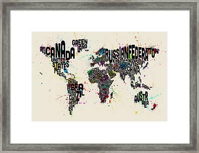 Paint Splashes Text Map Of The World Framed Print by Michael Tompsett