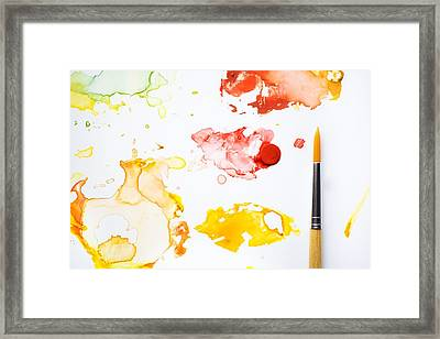 Painted Framed Print featuring the photograph Paint Splatters And Paint Brush by Chris Knorr