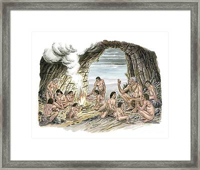 Palaeolithic Human Culture, Artwork Framed Print by Luis Montanya/marta Montanya/sciencephotolibrary