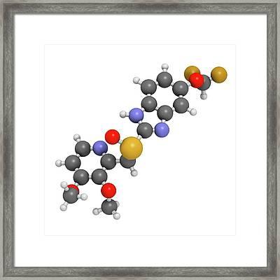 Pantoprazole Gastric Ulcer Drug Molecule Framed Print by Molekuul