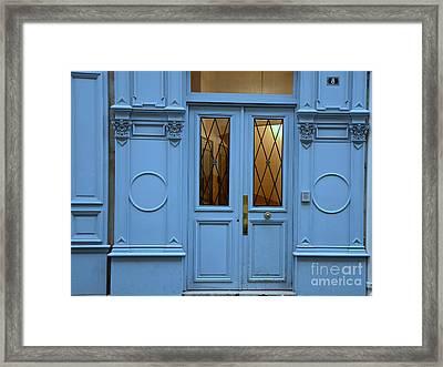 Paris Blue Door - Blue Aqua Romantic Doors Of Paris  - Parisian Doors And Architecture Framed Print by Kathy Fornal