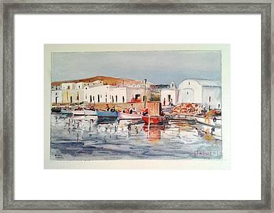 Paros-naousa Framed Print by George Siaba