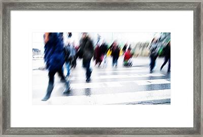 Pedestrian Crossing Rush. Framed Print by Michal Bednarek