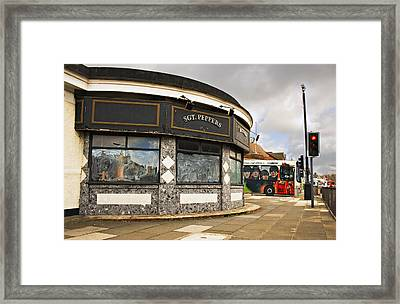 Penny Lane Shelter In The Middle Of A Roundabout And Beatles Bus Framed Print by Ken Biggs