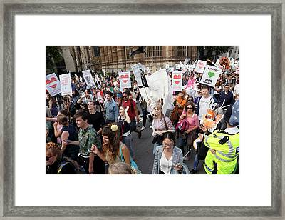 People's Climate March Framed Print by Victor De Schwanberg