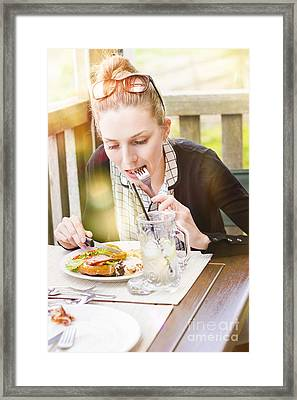 Person On Outdoor Restaurant Deck Eating Lunch Framed Print by Jorgo Photography - Wall Art Gallery