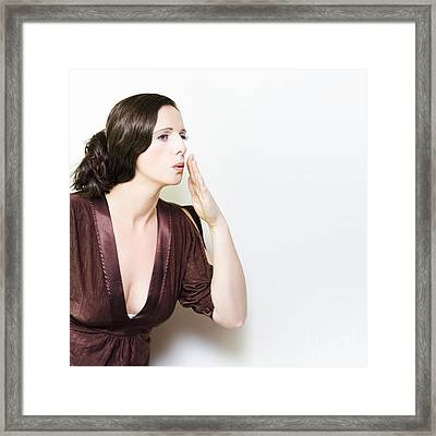 Person Whispering A Secret Over White Framed Print by Jorgo Photography - Wall Art Gallery