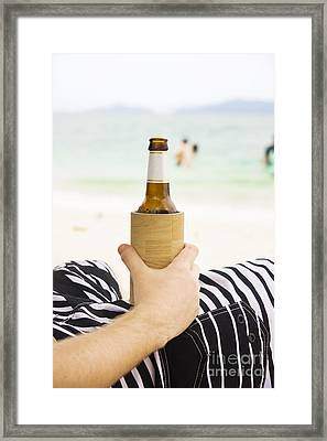 Person With Beer On Beach Framed Print by Jorgo Photography - Wall Art Gallery