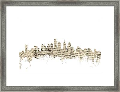 Philadelphia Pennsylvania Skyline Sheet Music Cityscape Framed Print by Michael Tompsett