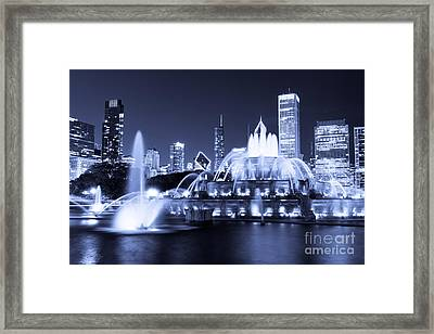 Photo Of Chicago At Night With Buckingham Fountain Framed Print by Paul Velgos