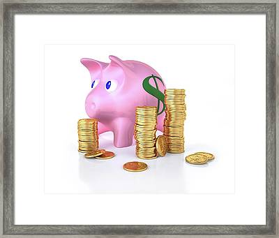 Piggy Bank And Gold Coins Framed Print by Leonello Calvetti