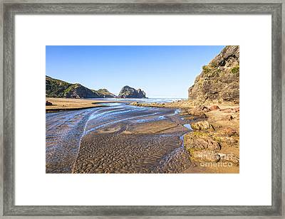 Piha Beach Textured Sand Auckland New Zealand Framed Print by Colin and Linda McKie