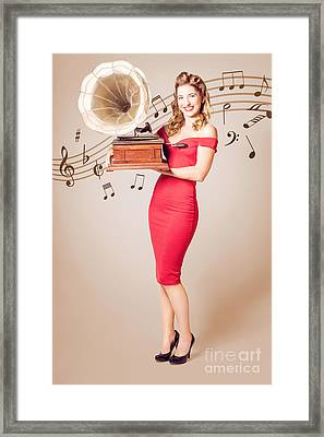 Pin-up At The Disco. Vintage Woman With Gramophone Framed Print by Jorgo Photography - Wall Art Gallery