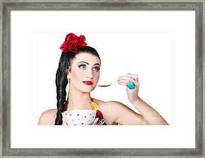 Pin-up Woman Eating Breakfast Cereal With Spoon Framed Print by Jorgo Photography - Wall Art Gallery