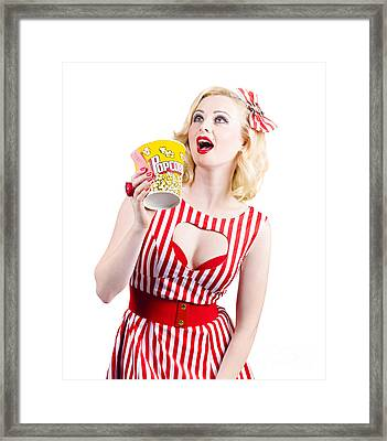 Pinup Cinema Girl At Box Office Movie Premiere Framed Print by Jorgo Photography - Wall Art Gallery