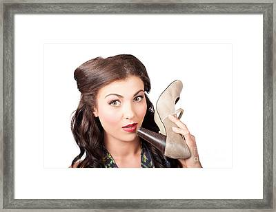 Pinup Vintage Woman Chatting On Shoe Phone Framed Print by Jorgo Photography - Wall Art Gallery