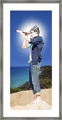 Pirate With Spyglass Framed Print by Jorgo Photography - Wall Art Gallery
