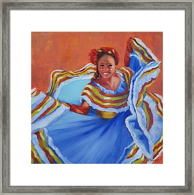 Pirueta Azul  Framed Print by Roseann Munger