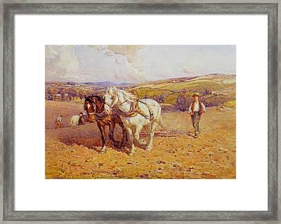 Ploughing Framed Print by Joseph Harold Swanwick