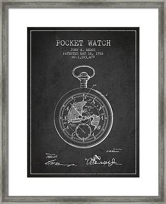 Pocket Watch Patent From 1916 Framed Print by Aged Pixel