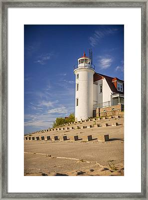 Point Betsie Lighthouse Michigan Framed Print by Adam Romanowicz