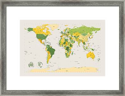 Political Map Of The World Framed Print by Michael Tompsett