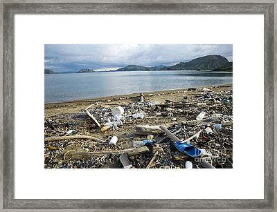 Polluted Beach, Komodo Island, Indonesia Framed Print by Georgette Douwma