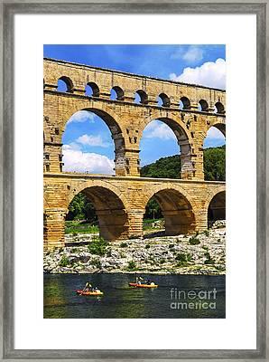 Pont Du Gard In Southern France Framed Print by Elena Elisseeva