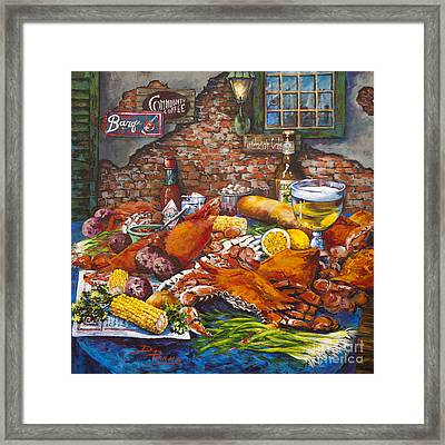 Pontchartrain Crabs - Acrylic On Canvas Framed Print by Dianne Parks
