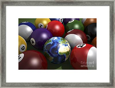 Pool Table With Balls And One Framed Print by Leonello Calvetti