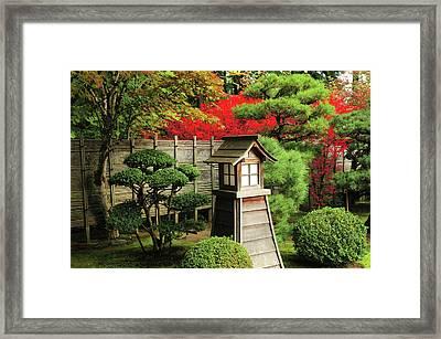 Portland Japanese Garden In Autumn Framed Print by Michel Hersen