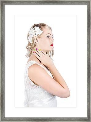 Portrait Of A Beautiful Bride Framed Print by Jorgo Photography - Wall Art Gallery
