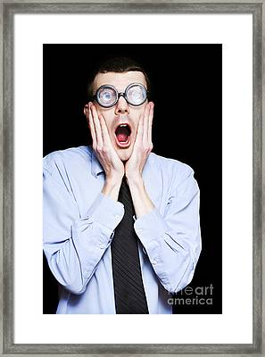 Portrait Of Astonished Accounting Businessman Framed Print by Jorgo Photography - Wall Art Gallery