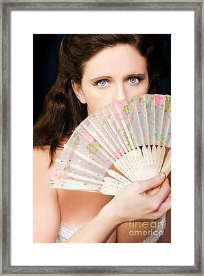 Portrait Of Beautiful Young Dancing Girl With Fan Framed Print by Jorgo Photography - Wall Art Gallery