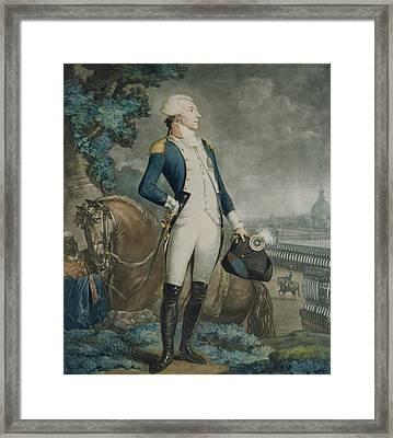 Portrait Of The Marquis De La Fayette Framed Print by Philibert-Louis Debucourt