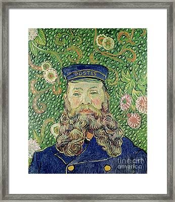 Portrait Of The Postman Joseph Roulin Framed Print by Vincent Van Gogh