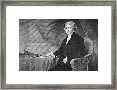 Portrait Of Thomas Jefferson Framed Print by Alonzo Chappel