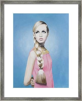 Portrait Of Twiggy Framed Print by Moe Notsu