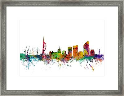 Portsmouth England Skyline Framed Print by Michael Tompsett