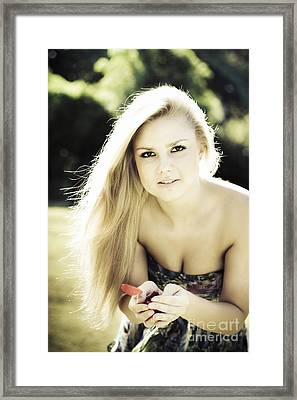 Pretty Blonde Holding Rose Petals Framed Print by Jorgo Photography - Wall Art Gallery