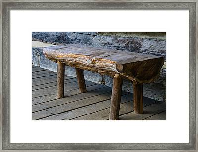 Primitive Bench Framed Print by Robert Hebert