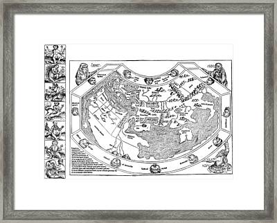 Ptolemaic World Map, 1493 Framed Print by Granger