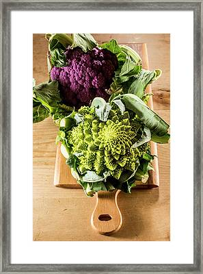 Purple And Romanesque Cauliflowers Framed Print by Aberration Films Ltd