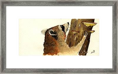 Raccoon On Tree Framed Print by Juan  Bosco