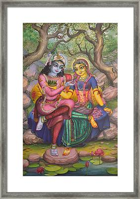 Radha And Krishna Framed Print by Vrindavan Das