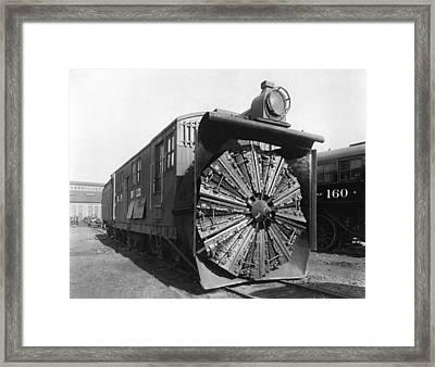 Railroad Rotary Snow Plow Framed Print by Underwood Archives