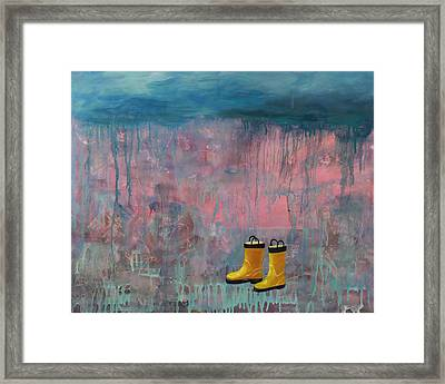 Rainy Day Galoshes Framed Print by Guenevere Schwien
