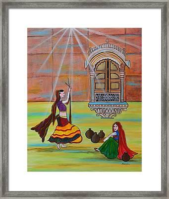 Rajasthani Ladies-dandiya  Framed Print by Manjiri Kanvinde