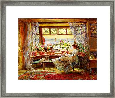 Reading By The Window Framed Print by Celestial Images