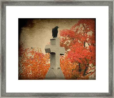 Red Autumn  Framed Print by Gothicolors Donna Snyder